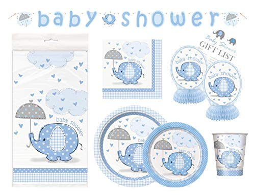 Boy Baby Shower Party Supplies Set - Blue Elephant Design Includes Plates, Cups, Napkins, Tablecover, Banner Decorations (Deluxe - Serves 16)]()