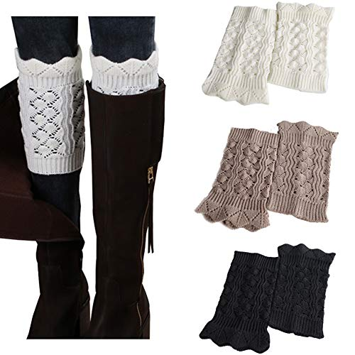 Faybox Boot Cuffs for Women Short Crochet Knitted Leg Warmers warm boot socks 1 to 8 Pairs
