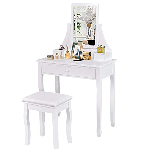 Waterjoy Vanity Set with Square Mirror Cushioned Stool Dressing Makeup Table, 3 Storage Boxes Home Simple Elegant Furniture White