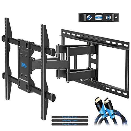 (Mounting Dream TV Wall Mount Bracket for 42-70 inch Flat Screens, Full Motion TV Mount with Swivel Articulating Arms, Max VESA 600x400mm and 100 LBS, Fits 16'', 18'', 24'' Wood)