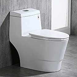 WOODBRIDGE T-0019 T-0019, Dual Flush Elongated One Piece Toilet with Soft Closing Seat, Comfort Height, Water Sense, High-Efficiency, Rectangle Button, 28.5 x 14.5 x 27 inches, Cotton White