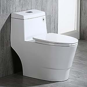 Woodbridgebath T-0019 Woodbridge T-0019, Dual Flush Elongated One Piece Toilet with Soft Closing Seat, Comfort Height, Water Sense, High-Efficiency, Rectangle Button, Cotton White