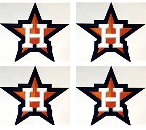 MLB Set of 4 Houston Astros Team Logo Stickers Four Individual Major League Baseball Official Helmet Emblems Texas ()