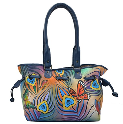Anuschka Anna Handpainted Leather Draw-String Tote, Flying Peacock (Tote Drawstring Handbag Print)
