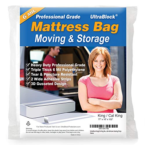 UltraBlock Mattress Bag for Moving, Storage or Disposal - King/Cal King Size Heavy Duty Triple Thick 6 mil Tear & Puncture Resistant Bag with Two Extra Wide Adhesive Strips