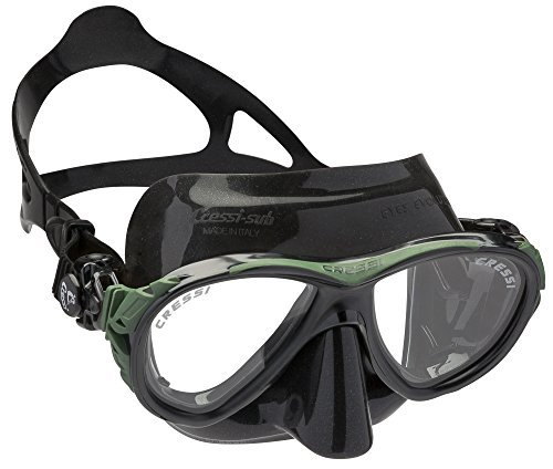 Cressi Eyes Evolution Scuba Diving Snorkeling Mask (Made in Italy), Black/Green by Cressi by Cressi