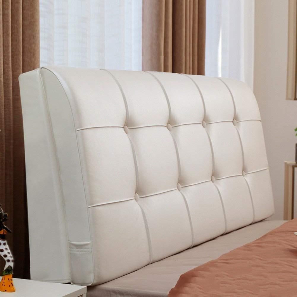 ベッドサイドラージバック付きヘッドボードレザーリーディングトライアングルウェッジベッドピローバックウエストソフトサポートパッドマルチカラーオプションマルチサイズオプション (色 : 白, サイズ さいず : 200cm) B07R2LLLN7 白 200cm