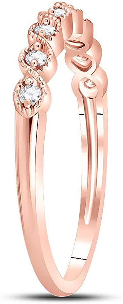 10k Rose Gold Diamond Fashion Ring Stackable Band Style 1//10 ct