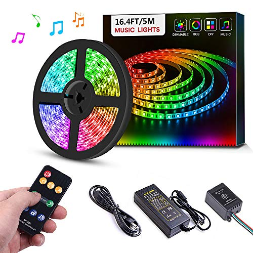 Dream Color LED Strip Lights Sync to Music, 16.4ft RGB 5050SMD Waterproof Flexible String Light - Built-in IC, 150LEDs Chase Effect Rope Lighting with RF Remote, 12V Power Supply ()