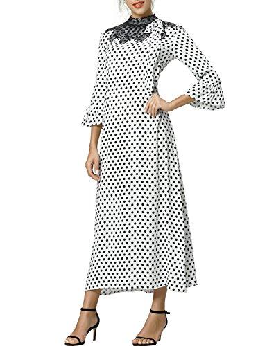 (Baya Women's Formal Floral Lace Long Sleeve Maxi Dress Polka dot Print Vintage Muslim Robe Kaftan)
