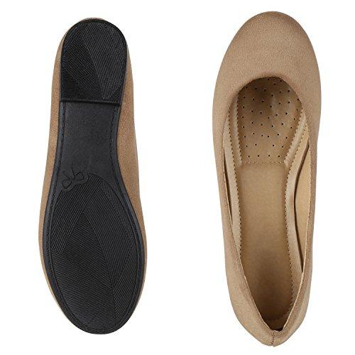 Japado Klassische Damen Ballerinas Flats Spitze Häkeloptik Leder-Optik Slippers Ballerina Schuhe Metallic Schleifen Pailletten Hellbraun Brown