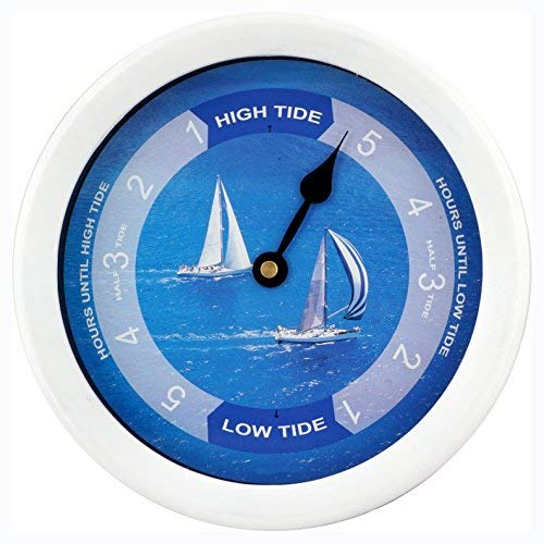 (JUSTIME 8.5 Inch Atlantic Tide Clock Colorful Digital Graphics Designed, Quality Plastic Water Resistant Case, Home Wall Décor (TT024-Yacht White) )