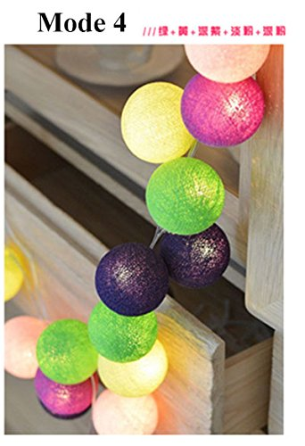 Model 4, 10 balls : Szvfun LED Garland Cotton Ball Light 20 Cotton Balls String Light Chain Thai Christmas Lights Indoor Battery Wedding Decorations by Generic
