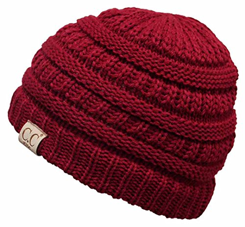 H-3847-40 Childrens (NO POM) Beanie - RED