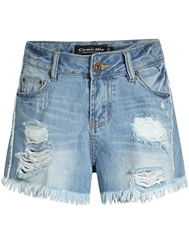 5 Pocket Hipster Jean - Camii Mia Women's Distressed Mid Rise Denim Shorts (30, Light Blue)