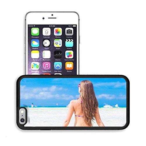 Luxlady Premium Apple iPhone 6 Plus iPhone 6S Plus Aluminum Backplate Bumper Snap Case IMAGE 24694160 long haired girl in bikini on tropical borcacay beach