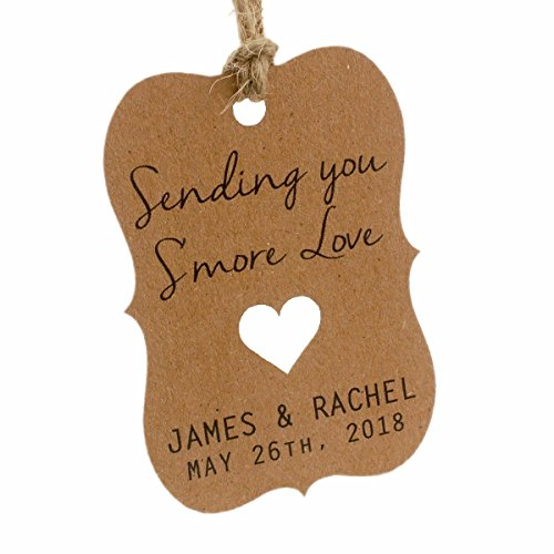 Summer-Ray 50 Personalized Kraft Sending You S'more Love Wedding Favor Gift Tags]()