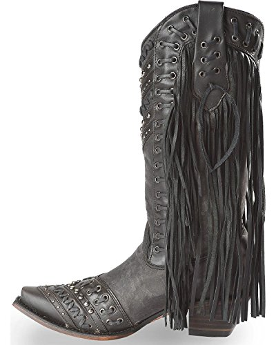 Corral Dames Bezaaid Side Fringe Cowgirl Laars Knip Toe Teen - C3006 Zwart