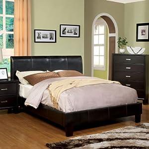 villa espresso leatherette queen size platform bed