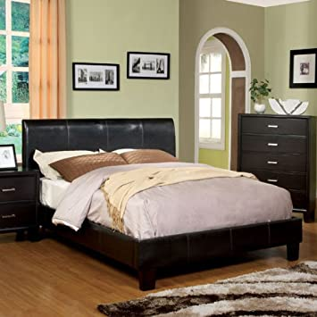 villa contemporary style espresso finish leatherette queen size platform bed frame set