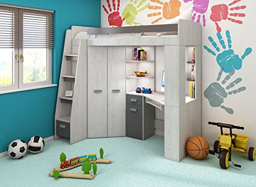 Etagenbett Kinder Mit Schrank : Amazon hochbett etagenbett mit treppe rechts oder links alles