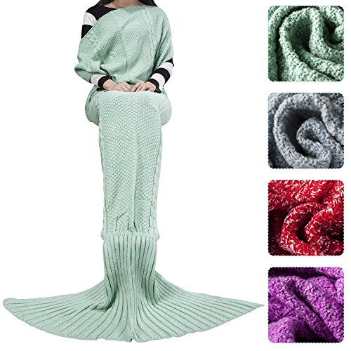 Outdepot Colorful White Knitted Mermaid Tail Blanket for Adult, All Seasons Sleeping Sofa Blankets Super Soft and Warm, Best Gift for Girl on Birthday or Christmas (Mint (Best Mermaid Costume)
