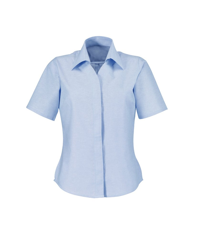 Alexandra Workwear Womens Oxford Short Sleeved Shirt Pale Blue 14