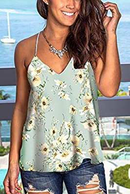 WFTBDREAM Womens Summer Sleeveless Floral Print Casual Tank Tops Camisole