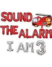 Sound The Alarm Im 3، زينة حفلات عيد ميلاد Firetruck، ديكورات أعياد الميلاد الصوتية المنبه، لوازم حفلات لافتة الإطفاء، زينة عيد ميلاد عمرها 3 سنوات، فتى، رجل إطفاء، إطفاء