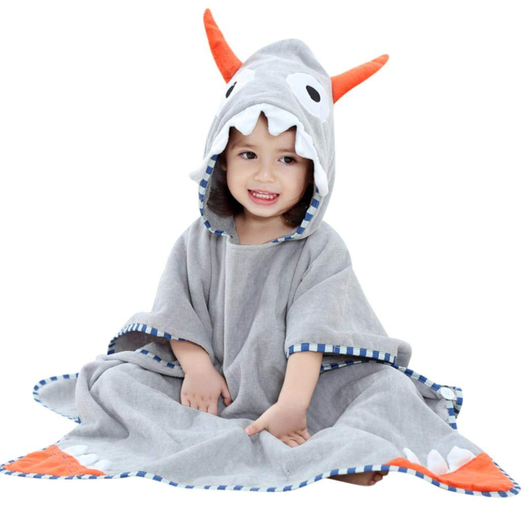 Zerototens Kids Robe, 1-7 Years Old Baby Boys Girls Bathrobe Cloak Tops Cartoon Animals Hooded Bath Towel Pajamas Clothes Blue)