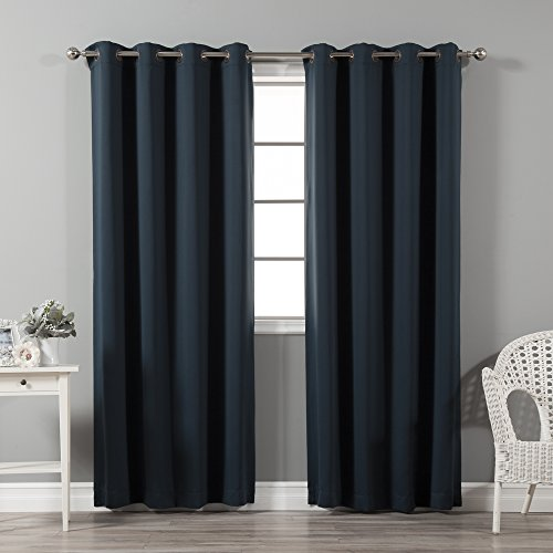 - Best Home Fashion Thermal Insulated Blackout Curtains - Antique Bronze Grommet Top - Navy - 52