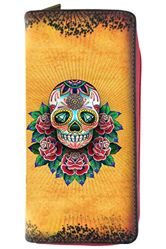 Mlavi tatto style Day of the Dead/sugar skull/Día de Muertos print vegan/faux leather large wallet]()