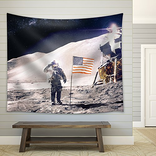Astronaut Standing on the Moon and Saluting Steps Away from the American Flag Fabric Tapestry