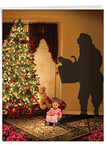 Big Christmas Note Card 'Visions Of Christmas Present' with Envelope 8.5 x 11 Inch - A Little Girl's First Christmas Night Magic - Stationery Xmas Gift Notecard Greeting J6665EXSG