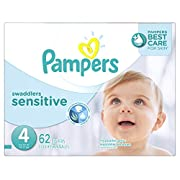 Pampers Swaddlers Sensitive Disposable Diapers Size 4, 62 Count, SUPER