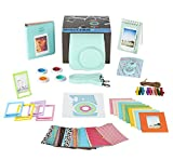 Fujifilm Instax Mini 9 Instant Camera Accessories Bundle. ICE BLUE 11 Piece Gift Box Fujifilm Mini 9 accessories Kit Includes Case + Strap, Fujifilm Albums, Filters, Selfie Lens, 60 Stickers & More