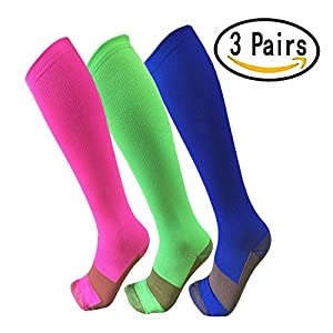 Copper Compression Socks For Men & Women(3 Pairs)- Best For Running,Athletic,Medical,Pregnancy and Travel -15-20mmHg (S/M, Multicoloured)