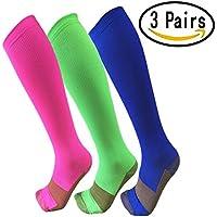 Calcetines de compresión para hombres y mujeres de cobre (3pares)-Mejor para correr, Athletic, médico, el embarazo y de viaje -15–20mmHg