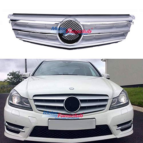 MOTORFANSCLUB W204 Grill,Sport Front Bumper Grill Mesh Grille Fits for Mercedes-Benz C-Class C200 C180 C250 C260 C230 C280 C300 C350 2008-2014 AMG Style(Silver)