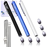The Friendly Swede Replaceable Micro-knit Tip Hybrid Stylus with Lanyards, Cloth and Replacement Tips (3 Pack), Black, White and Dark Blue