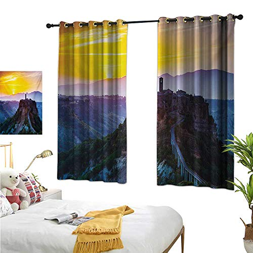 RuppertTextile Insulated Sunshade Curtain Old Historic Castle Town on Top of The Hills in Italian Renaissance at Sunset Print 72