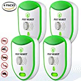 Ultrasonic Pest Repeller Electronic Pest Control [2018 UPGRADED] 4 pack Insects Repellent Plug in Pest Reject for Mosquito, Mice, Ant, Rats, Roaches, Cockroaches, Fruit Flies, Rodents, Insect (Green)