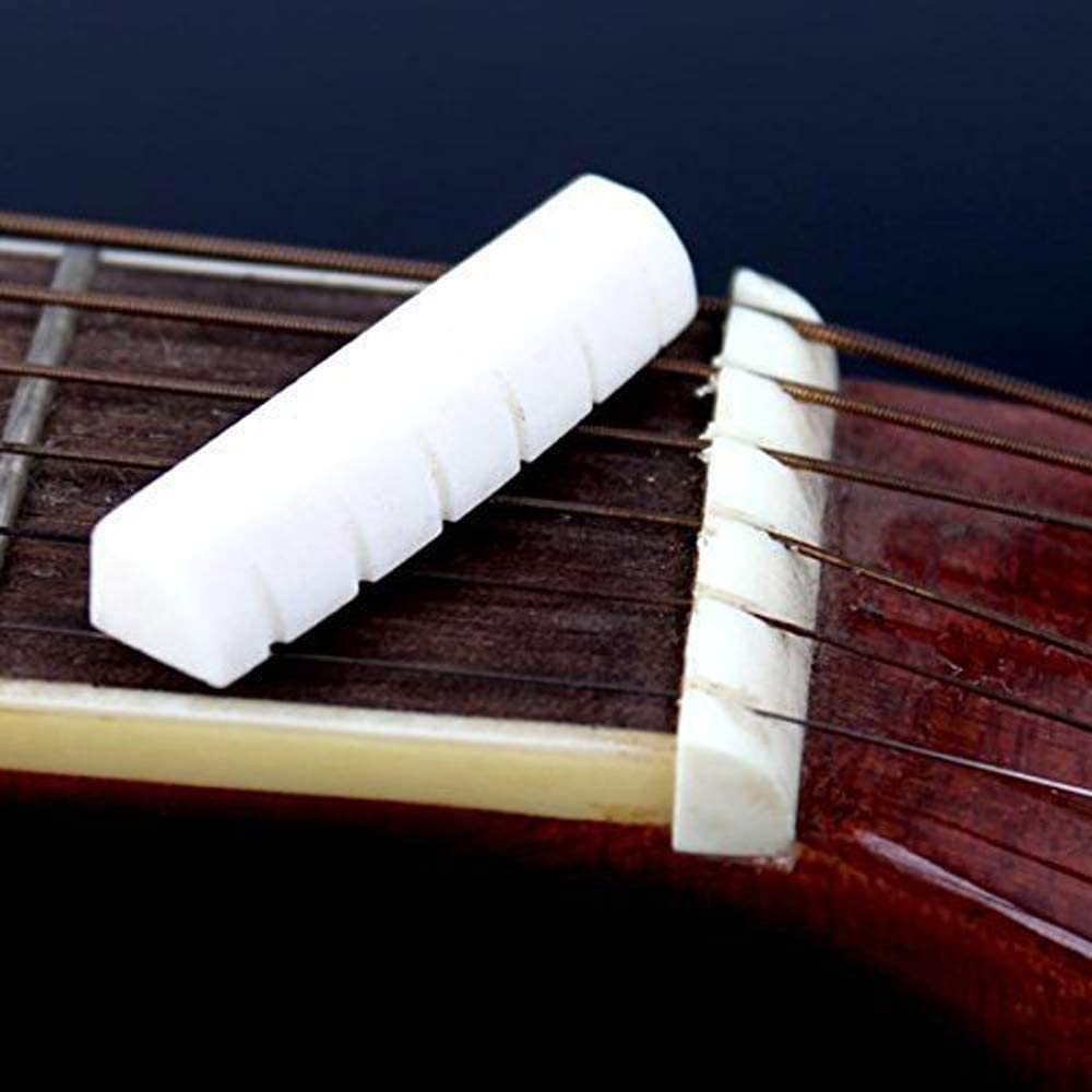 Yevison Nut Folk Bridge for Guitar Bridge Saddle Replacement Bridge Saddle Guitar Accessories for Acoustic Guitar White 1 Pcs Adorable Quality and Durable