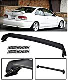 VXMOTOR Mugen Style ABS Plastic Rear Trunk Lip Wing Spoiler + Black Emblems 1996-2000 Honda Civic 2 Door 2DR Coupe ONLY