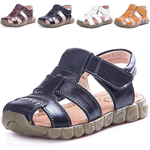LONSOEN Leather Outdoor Sport Sandals,Fisherman Sandals for Boys(Toddler/Little Kids),Black,KSD001 CN30 (Sandal Fisherman Closed Toe)