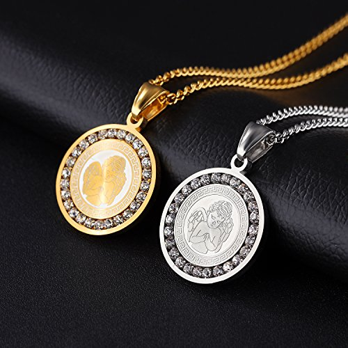 07c9b123a849d TEMICO Unisex Stainless Steel Guardian Angel Round Medal Protection Pendant  Necklace, Silver/Gold Tone