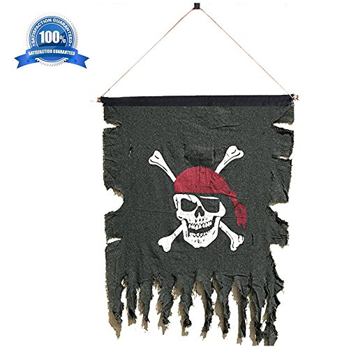 Beryllong Pirate Flag Vintage Fabric Pirate Flag Bnaner with Hanging Rope for pirate party bar interior garden decorations 19 x 20 Pirate Flag Fabric