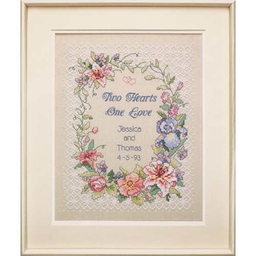 Dimensions Two Hearts One Love Wedding Record Stamped Cross Stitch Kit, 11'' W x 14'' H -