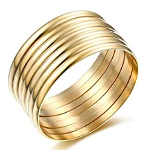 High Polished Stainless Steel Set of 7 Gold Stacked Gold Bangles