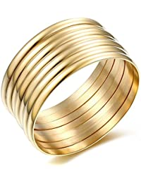 Jewelry High Polish Set of 7 Pieces Stacked Gold Bangle Bracelets for Women 14k
